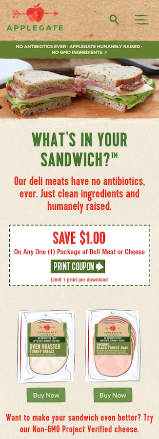 Applegate sandwich meat